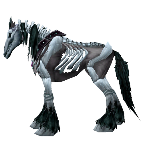 Unsaddled Black Skeletal Horse